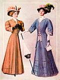 lithograph edwardian costumes
